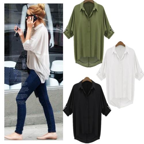 TOMTOP / Nova moda mulheres camisa do Chiffon giram-para baixo manga longa blusa Top solto branco colar