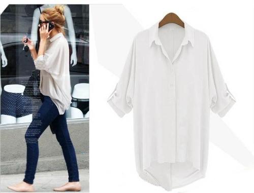 Nueva moda gasa camisa descubierta cuello manga larga blusa suelta superior blanco