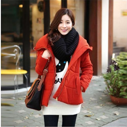 Fashion Women Winter Coat Large Lapel Outerwear Zipper Parka Jacket Reddish Orange