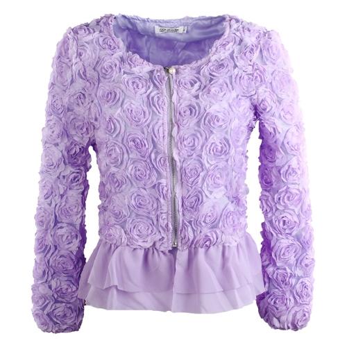 Fashion Women Thin Coat 3D Rose Flower Mesh Lace Bead Chiffon Hem Ruffles Slim Zipper Tops Purple