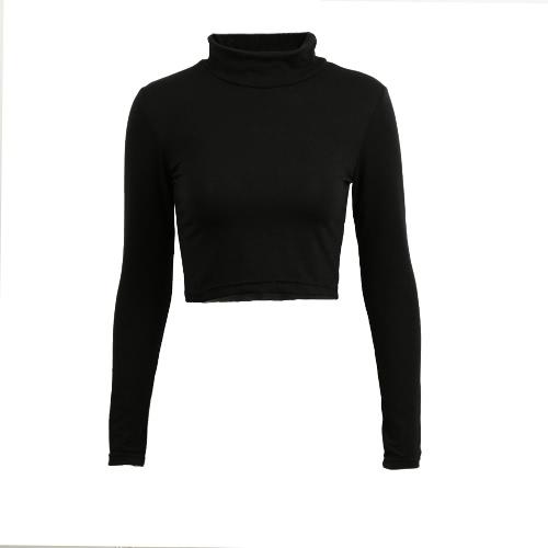 Stylowe Casual Women Koszulka Crop Polo Neck Top z długim rękawem Bluzka Tee T Shirt Czarny