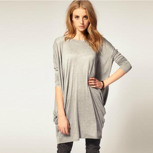 Mujeres chic sobre tamaño camiseta manga larga alas de murciélago Knit Tops sueltos camiseta negro/gris