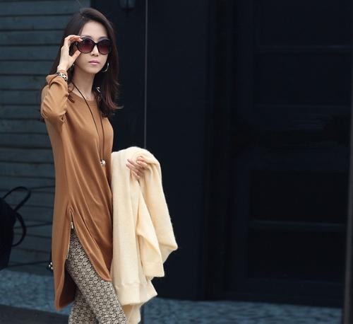 Casual mujer suelta t-shirt manga larga cremallera detalle Jersey Slouchy tapas largas camisa marrón