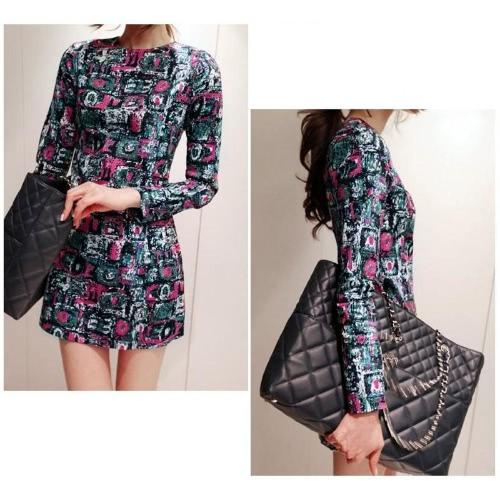 Moda donna Mini abito stampa colorata pittura Pattern geometrici zip manica lunga indietro abito Slim