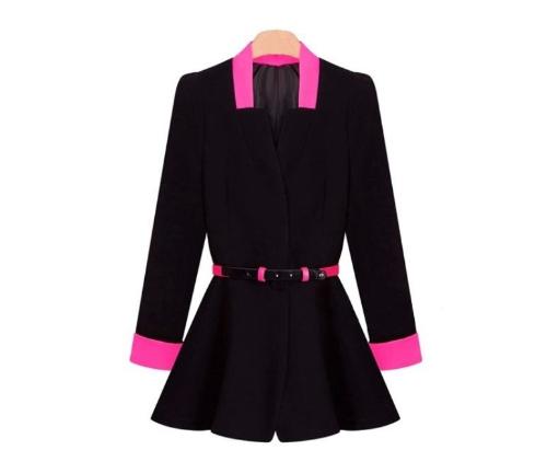 Nowy koreański OL Kobiety plisowane Blazer Głębokie V-Neck Slim Przycisk kurtka żakiet Czarny