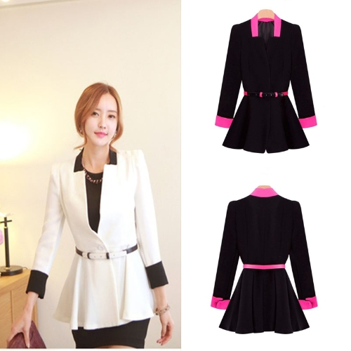 New Korean OL Women Pleated Blazer Deep V-Neck Slim Jacket Button Coat Black