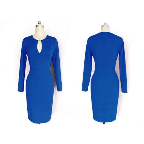 TOMTOP / Mulheres sexy lápis vestido Celeb Style Keyhole manga longa Slim estiramento Bodycon festa vestido azul