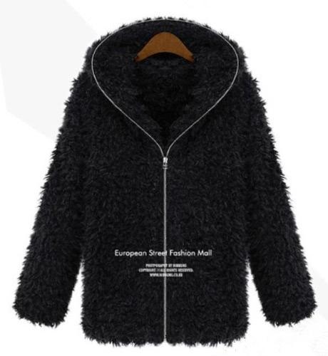 Nuevo invierno mujeres mullida capa lanuda piel sintética cremallera abrigos gruesos con capucha negro