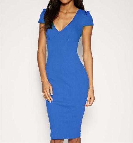 Mujeres sexy lápiz vestido zambullida V cuello manga corta longitud Midi delgado oficina Bodycon vestido de fiesta azul