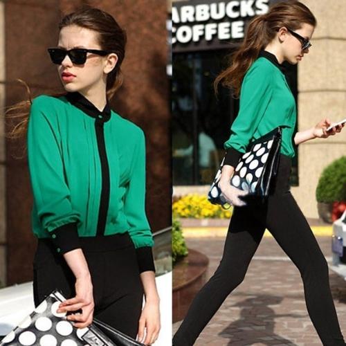 Moda OL mujeres camisa de gasa plisada manga larga delantera botón blusa Tops verde