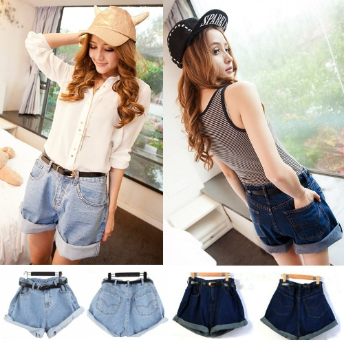 Vintage Women Shorts Denim Jeans High Waist Rolling-up Cuffs Oversized Short Pants Light Blue