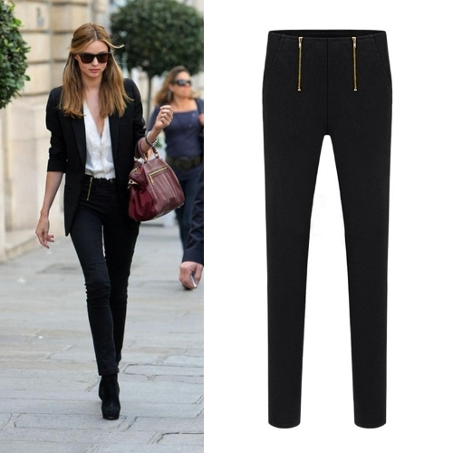 Casual OL Women Slim Pencil Pants Two Zippers Pockets Stretch Trousers Skinny Long Leggings Black