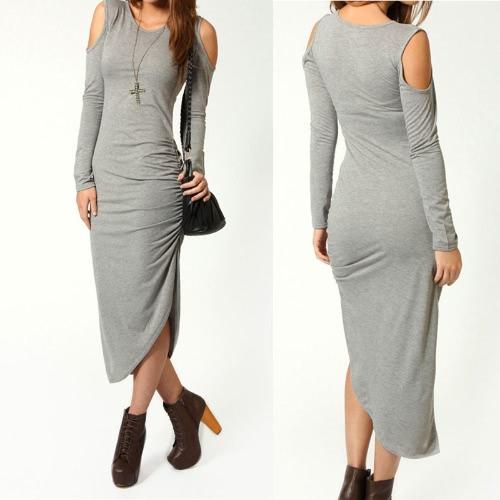 TOMTOP / Sexy mujer Midi vestido cortan hombro lado acanalada Bodycon vestido Clubwear fiesta gris