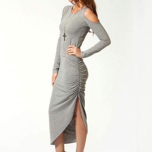 Sexy mujer Midi vestido cortan hombro lado acanalada Bodycon vestido Clubwear fiesta gris