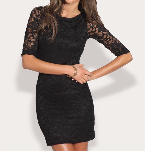 Mujeres sexy de encaje Mini vestido abierto atrás redonda cuello 3/4 manga Slim Vestido de fiesta negro