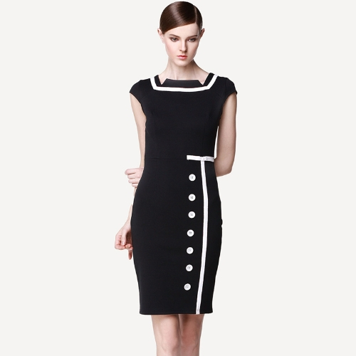 Fashion Women OL Pencil Dress Square Neck Button Bodycon Midi Dress Business Party Clubwear Black