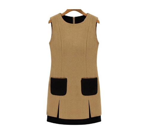 Nuovo donne eleganti spessi Abito smanicato Patch Pocket Shift Dress Khaki