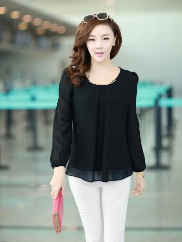 Nueva moda mujeres blusa de gasa manga larga cuello redondo plisado negro camisa Tops sueltos