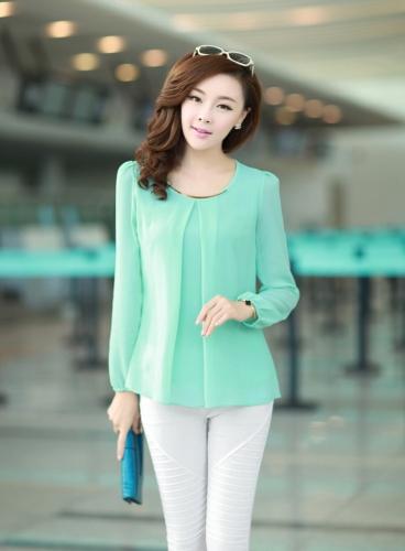 Nueva moda mujeres blusa de gasa manga larga cuello redondo con pliegues camisa Tops sueltos luz verde