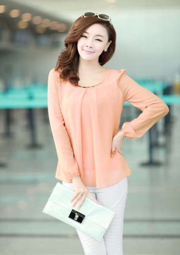 New Fashion Women Chiffon Blouse Long Sleeve Crew Neck Pleated Shirt Loose Tops Pink