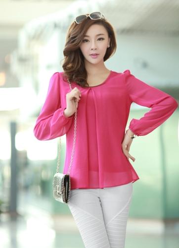 Nueva moda mujeres blusa de gasa manga larga cuello redondo con pliegues camisa suelta Tops rosa