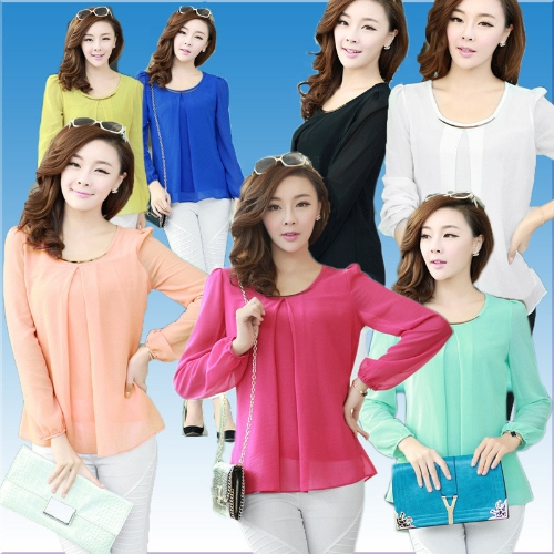 New Fashion Women Chiffon Blouse Long Sleeve Round Neck Pleated Shirt Loose Tops White