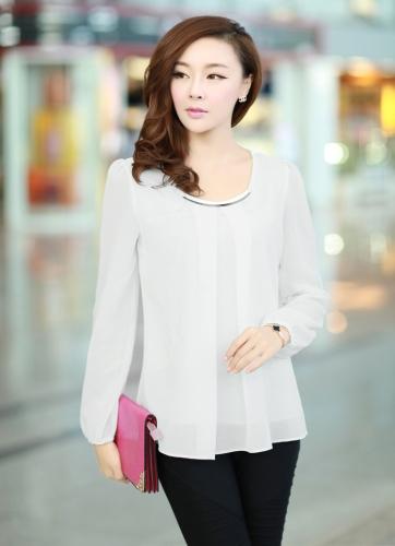 Nueva moda mujeres blusa de gasa manga larga cuello redondo con pliegues camisa Tops sueltos blanco