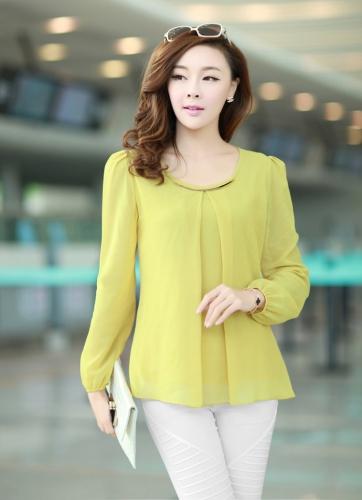 Nueva moda mujeres blusa de gasa manga larga cuello redondo con pliegues camisa suelta tapas amarillas