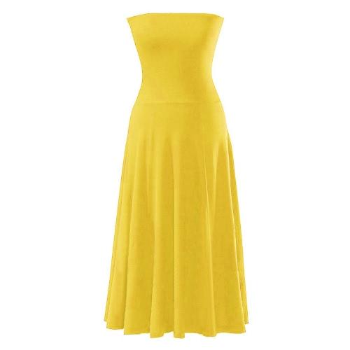 Moda sexy vestido de las mujeres Bikini Cover Up playa de verano traje de baño Strapless falda amarillo