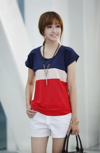 Nuevo las mujeres blusa de Gasa contraste Patchwork cuello redondo manga corta raya camiseta Tops rojo
