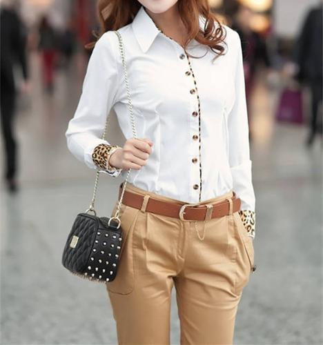 Moda negocio OL camisa de Dama mujer contraste leopardo Patchwork manga larga botón Tops blusa blanco/negro