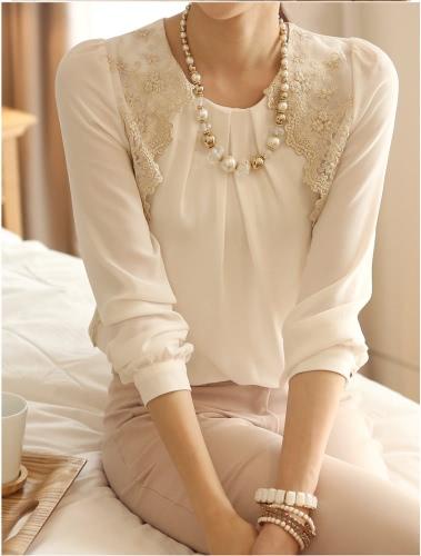 Nowy women rocznika Szyfonowa Bluzka z długim rękawem Bluzki koronka koszula Podstawowe Biały