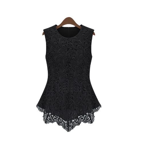 Neue Frauen Floral Spitze Bluse ärmellos häkeln Peplum Unterhemden schlanke Hemd schwarz