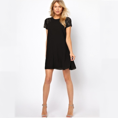 New Women Chiffon Dress Short Sleeve Lace Insert Loose One-piece Shift Dress Black