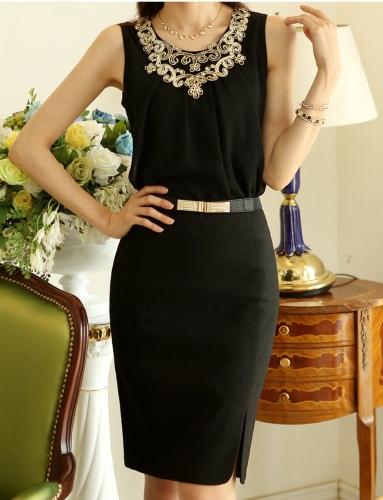Newest Elegant Women Tank Top Chiffon Front Golden Sequin O-Neck Sleeveless Vest Tops Camisole Black