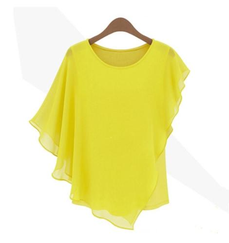 Nueva moda mujer Tops de Gasa con volantes de manga del Batwing asimétrica T camisa amarillo