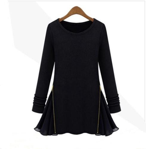 Moda mulheres Slim t-shirt manga longa lado Zipper do Chiffon Flare Jersey Tops preto