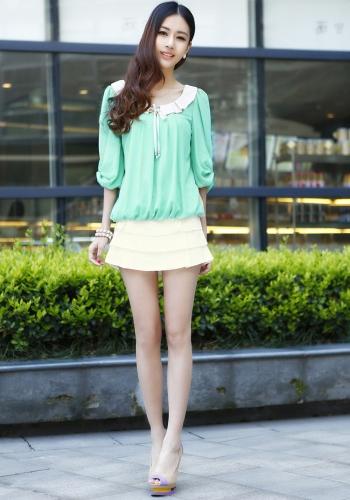 Nueva linda mujeres blusa de gasa plisada linterna frontal media mangas contraste cuello Peter Pan camisa tapas verde claro