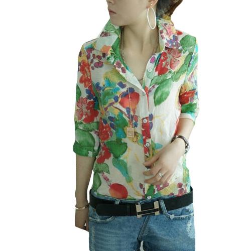 Moda vintage mujeres camisa colorida flor Floral impresión descubierta Collar botón blusa de Gasa tapas verde