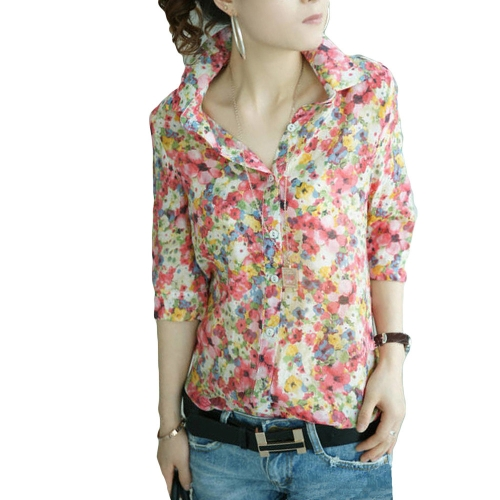 Moda vintage mujeres camisa colorida flor Floral impresión descubierta Collar botón blusa de Gasa Tops rojo