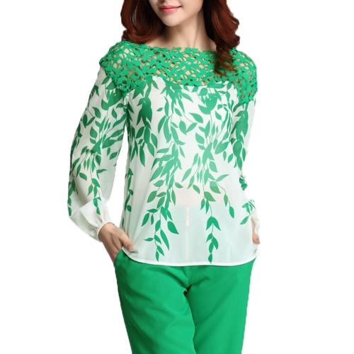 Moda mulheres do Chiffon blusa laço Hollow fora Willow folhas impressão Patchwork Tops verde