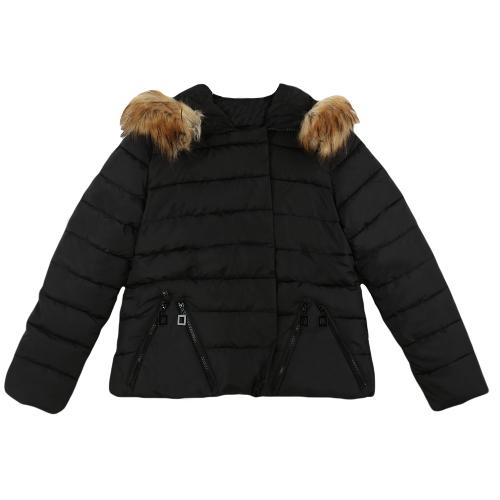 No inverno de Nova mulheres Parka acolchoada zíper Snap fechamento manga longa com capuz quente Outwear casaco