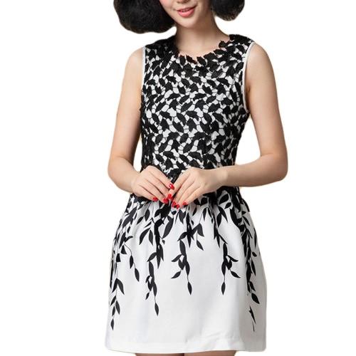 Nova moda mulheres vestem bordado laço folha impressão tanque sem mangas vestido preto
