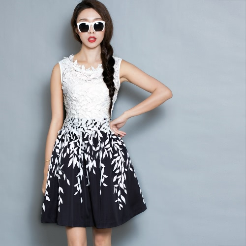 New Fashion Women Dress Embroidery Lace Leaf Print Sleeveless Tank Dress White