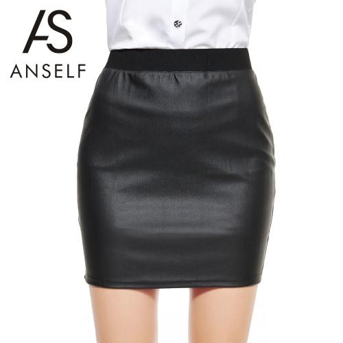 Mujeres sexy falda Bodycon PU cuero Mini falda corta negra