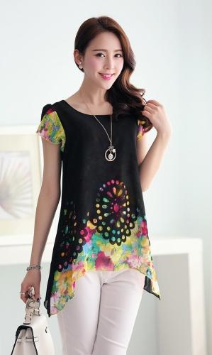 Nueva moda mujeres blusa de Gasa Floral grabado hueco por superposición de pétalo mangas Tops negro