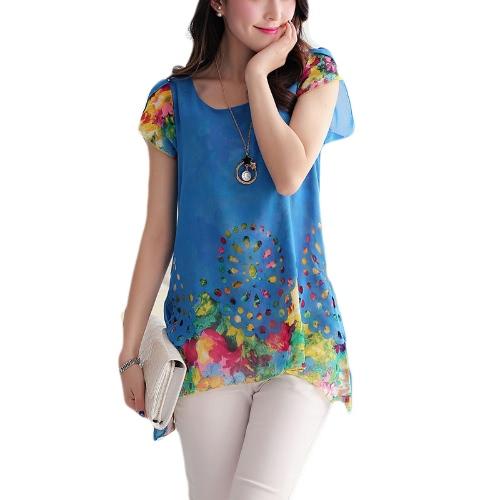 Nueva moda mujeres blusa de Gasa Floral grabado hueco por superposición de pétalo mangas encabeza azul