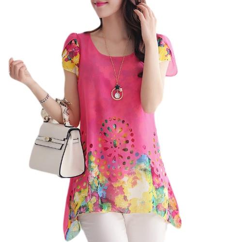 Nueva moda mujeres blusa de Gasa Floral grabado hueco por superposición de pétalo mangas Tops rosa
