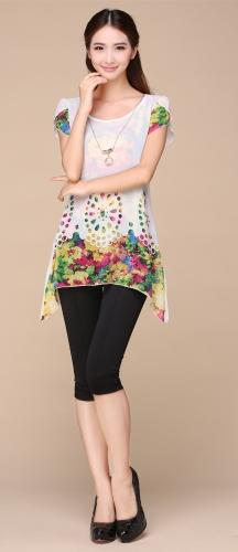 Новые моды женщин шифон блузки цветочные печати выдалбливают топы белый оверлей лепесток рукава фото