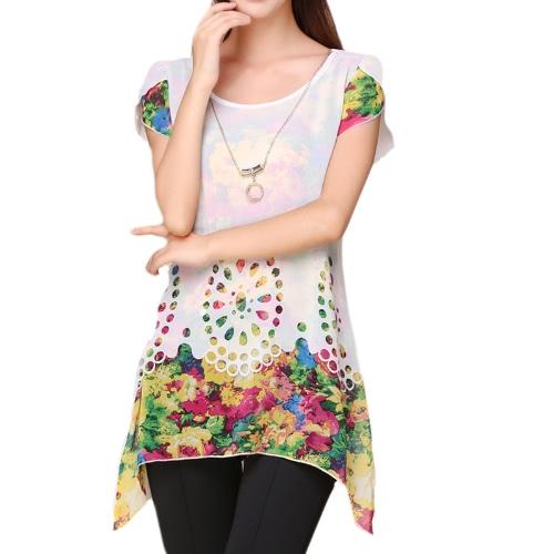 Nueva moda mujeres blusa de Gasa Floral grabado hueco recubierto pétalo mangas Tops blanco